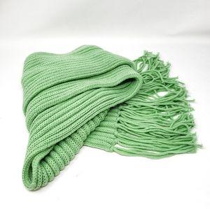 Mint Green Fringe Knit Warm Winter Long Scarf